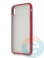 Накладка силиконовая матовая с перламутровой окантовкой для Apple IPhone X/Xs красная