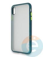 Накладка силиконовая матовая с перламутровой окантовкой для Apple IPhone X/Xs зеленая