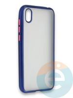 Накладка силиконовая матовая с перламутровой окантовкой для Huawei Y5 2019/8S синяя