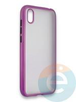 Накладка силиконовая матовая с перламутровой окантовкой для Huawei Y5 2019/8S фиолетовая
