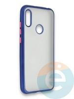 Накладка силиконовая матовая с перламутровой окантовкой для Huawei Y6 2019/Honor 8A синяя