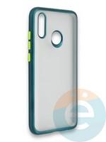 Накладка силиконовая матовая с перламутровой окантовкой для Huawei P Smart 2019/Honor 10 Lite зеленая