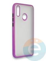Накладка силиконовая матовая с перламутровой окантовкой для Huawei P Smart 2019/Honor 10 Lite фиолетовая