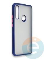 Накладка силиконовая матовая с перламутровой окантовкой для Huawei P Smart Z/Y9 Prime синяя