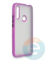 Накладка силиконовая матовая с перламутровой окантовкой для Huawei P Smart Z/Y9 Prime фиолетовая