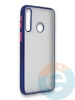Накладка силиконовая матовая с перламутровой окантовкой для Huawei Y7P/P40 Lite E 2020 синяя