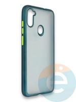 Накладка силиконовая матовая с перламутровой окантовкой для Samsung Galaxy A11 зеленая