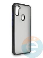 Накладка силиконовая матовая с перламутровой окантовкой для Samsung Galaxy A11 черная