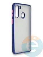 Накладка силиконовая матовая с перламутровой окантовкой для Samsung Galaxy A21 синяя