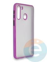 Накладка силиконовая матовая с перламутровой окантовкой для Samsung Galaxy A21 фиолетовая