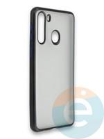 Накладка силиконовая матовая с перламутровой окантовкой для Samsung Galaxy A21 черная