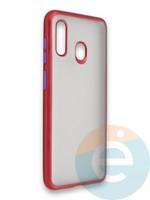 Накладка силиконовая матовая с перламутровой окантовкой для Samsung Galaxy A30/A20 красная