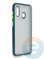 Накладка силиконовая матовая с перламутровой окантовкой для Samsung Galaxy A30/A20 зеленая