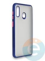 Накладка силиконовая матовая с перламутровой окантовкой для Samsung Galaxy A30/A20 синяя