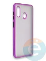 Накладка силиконовая матовая с перламутровой окантовкой для Samsung Galaxy A30/A20 фиолетовая