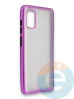 Накладка силиконовая матовая с перламутровой окантовкой для Samsung Galaxy A41 фиолетовая