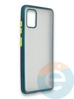 Накладка силиконовая матовая с перламутровой окантовкой для Samsung Galaxy A51 зеленая