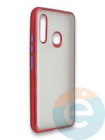 Накладка силиконовая матовая с перламутровой окантовкой для Samsung Galaxy A70E красная