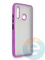 Накладка силиконовая матовая с перламутровой окантовкой для Samsung Galaxy A70E фиолетовая