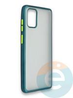 Накладка силиконовая матовая с перламутровой окантовкой для Samsung Galaxy A71 зеленая