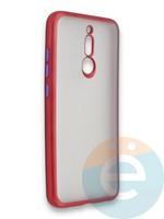 Накладка силиконовая матовая с перламутровой окантовкой для Xiaomi Redmi 8 красная