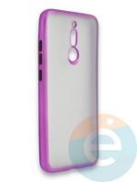 Накладка силиконовая матовая с перламутровой окантовкой для Xiaomi Redmi 8 фиолетовая
