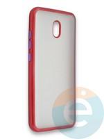 Накладка силиконовая матовая с перламутровой окантовкой для Xiaomi Redmi 8A красная