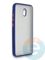 Накладка силиконовая матовая с перламутровой окантовкой для Xiaomi Redmi 8A синяя