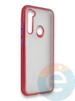 Накладка силиконовая матовая с перламутровой окантовкой для Xiaomi Redmi Note 8 красная