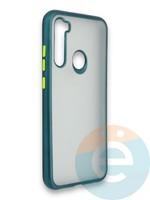 Накладка силиконовая матовая с перламутровой окантовкой для Xiaomi Redmi Note 8 зеленая