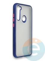 Накладка силиконовая матовая с перламутровой окантовкой для Xiaomi Redmi Note 8 синяя