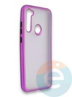 Накладка силиконовая матовая с перламутровой окантовкой для Xiaomi Redmi Note 8 фиолетовая