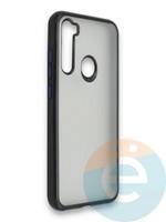 Накладка силиконовая матовая с перламутровой окантовкой для Xiaomi Redmi Note 8 черная