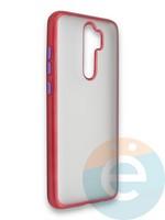 Накладка силиконовая матовая с перламутровой окантовкой для Xiaomi Redmi Note 8 Pro красная