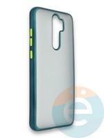Накладка силиконовая матовая с перламутровой окантовкой для Xiaomi Redmi Note 8 Pro зеленая