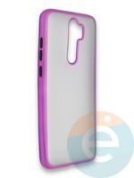 Накладка силиконовая матовая с перламутровой окантовкой для Xiaomi Redmi Note 8 Pro фиолетовая