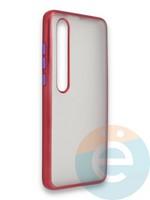 Накладка силиконовая матовая с перламутровой окантовкой для Xiaomi Mi 10 красная