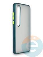 Накладка силиконовая матовая с перламутровой окантовкой для Xiaomi Mi 10 зеленая