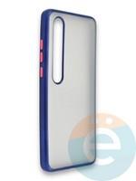 Накладка силиконовая матовая с перламутровой окантовкой для Xiaomi Mi 10 синяя