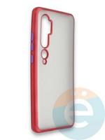 Накладка силиконовая матовая с перламутровой окантовкой для Xiaomi Mi Note 10 красная