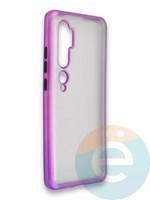 Накладка силиконовая матовая с перламутровой окантовкой для Xiaomi Mi Note 10 фиолетовая