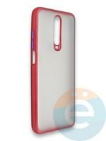 Накладка силиконовая матовая с перламутровой окантовкой для Xiaomi Redmi K30/K30 Pro красная