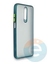 Накладка силиконовая матовая с перламутровой окантовкой для Xiaomi Redmi K30/K30 Pro зеленая