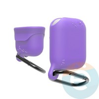 Чехол силиконовый воданепроницаемый Waterproof Hang Case для Apple AirPods 1/2 сиреневый