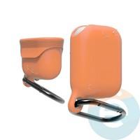 Чехол силиконовый воданепроницаемый Waterproof Hang Case для Apple AirPods 1/2 коралловый