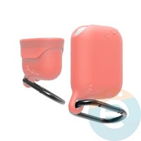 Чехол силиконовый воданепроницаемый Waterproof Hang Case для Apple AirPods 1/2 персиковый