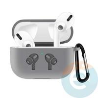 Чехол силиконовый для наушников Apple airPods Pro с логотипом Grey