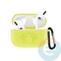 Чехол силиконовый для наушников Apple airPods Pro с логотипом Yellow