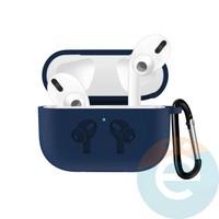 Чехол силиконовый для наушников Apple airPods Pro с логотипом Blue