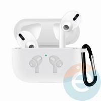 Чехол силиконовый для наушников Apple airPods Pro с логотипом White